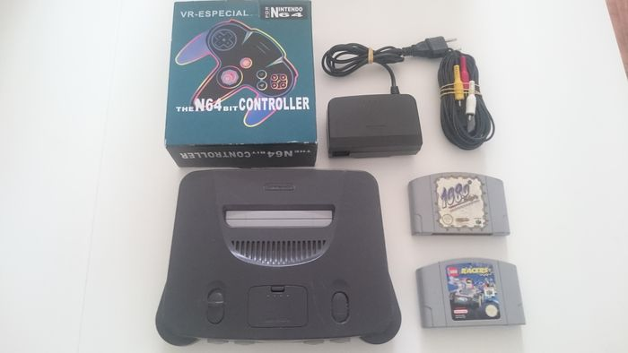 Nintendo 64 console, complete with cables and new controller