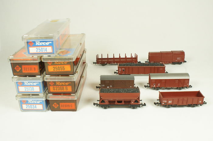 Roco N - 02329C/25034/25138/25014/25055/02368B/02331B - 7 freight carriages