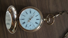 Gold pocket watch Ancre Ligne Droite - around 1920.