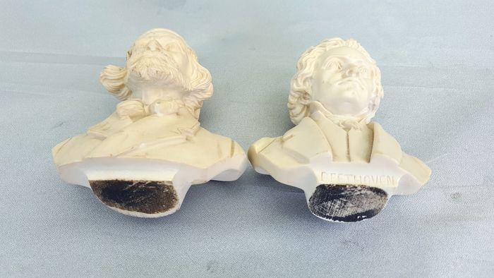 Miniature busts Verdi and Beethoven - A  Gianelli - Catawiki