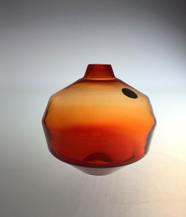 Menno Jonker (Royal Leerdam Crystal) - Orange Vase Amalia (Fully markiert)