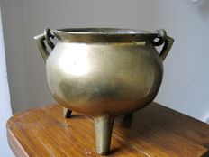 "Bronze ""grape""/cooking pot with handle on three legs-18th century"