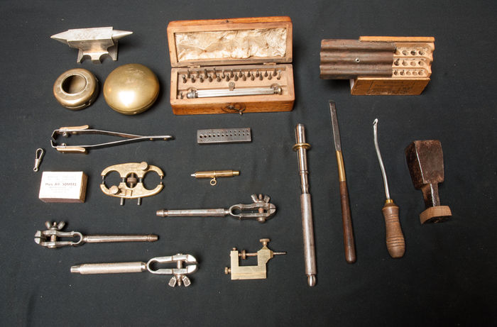 Collection of mostly 19th century watchmaker tools