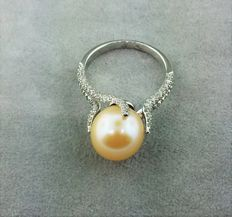 South Sea pearl ring in 18 kt white gold set with diamonds of 0.75 ct.