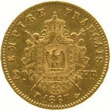 France - 20 Francs 1867BB Napoleon III Empereur - gold