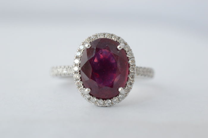 18 kt white gold entourage ring with diamonds and ruby – Ring size: 53 (16.75 mm)