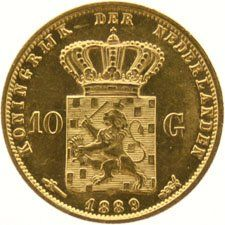 The Netherlands – 10 guilder coin, 1889, Willem III – gold