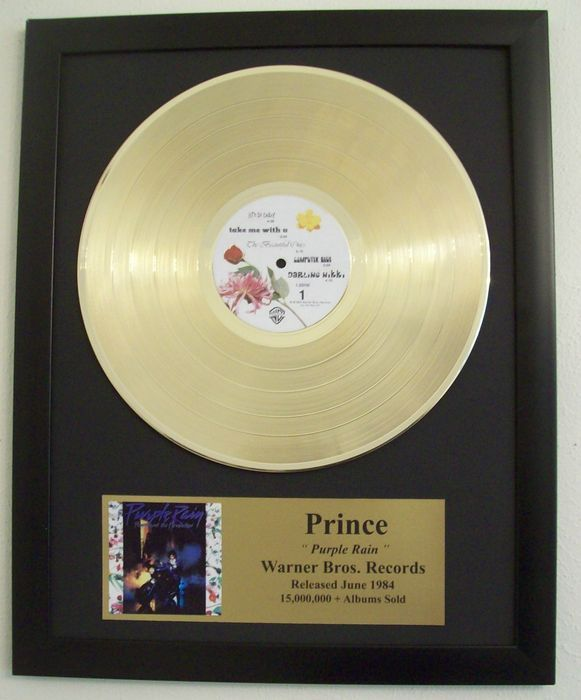 Prince Golden Plated Record Prince - Purple rain - Lp with gold plague