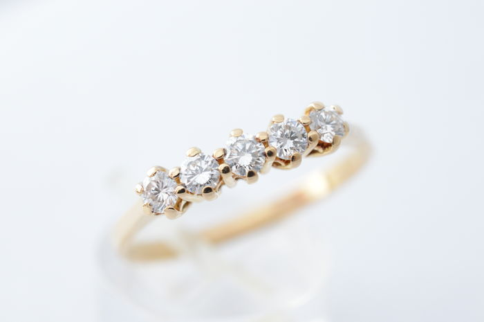 18 kt yellow gold ring with high-quality brilliants 0.50 ct - Ring size: 59 (18.75 mm)