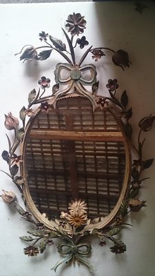 Wonderful wall mirror in wrought iron with multicolour floral motifs - Italy - early 20th century