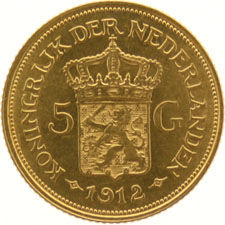 The Netherlands – 5 guilder coin  1912, Wilhelmina, gold.