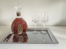 "Remy Martin ""Extra"" bottle and 2 Remy Martin Louis XII glasses of  Baccarat crystal glasses and tray"