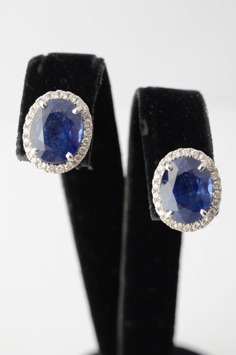 18 karat white gold entourage earrings with diamonds and sapphire