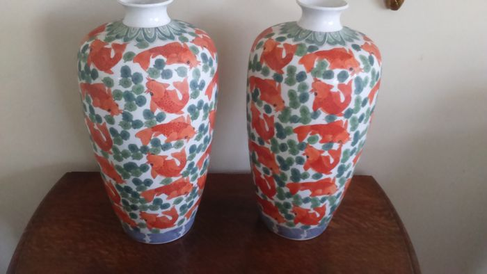 A Pair Of Vintage Chinese Porcelain Vases With Goldfish Catawiki