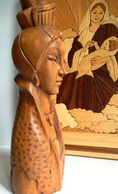 Virgin Mary and Jesus, all wood, 1960 made with care and detail wooden sculpture