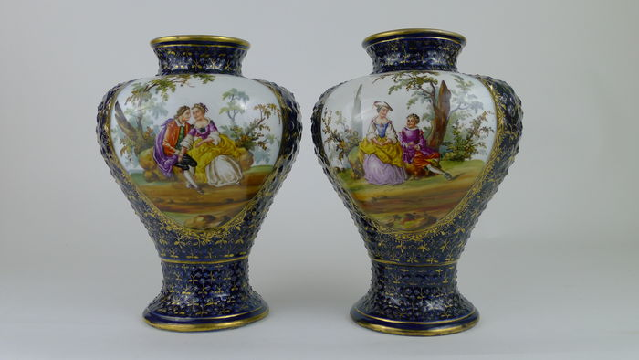 Pair of 19th Century Dresden vases