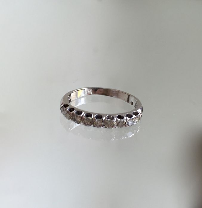 18k white gold Riviera ring with diamonds, 0.45 ct. – Size 10(50)