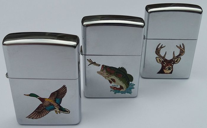zippo lighter lot of three pieces animal collection usa 1991
