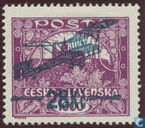 Allegory airmail with overprint
