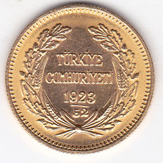 Turkey – 100 Kurush 1923 / 52 – gold
