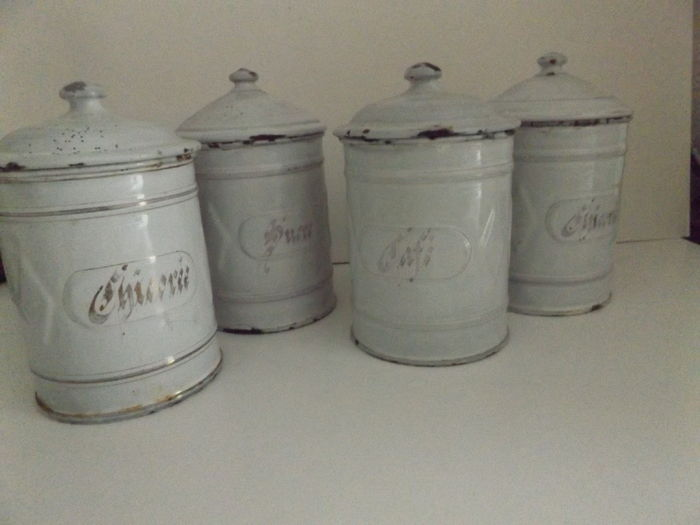 Lot of old kitchen essentials Enamel storage containers