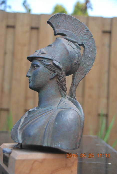Museum replica of the Athena of Piraeus executed in bronzed