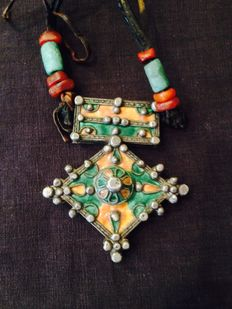 Necklace from Morocco –  Berber cross – Silver, amber, enamel and stones