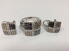 Set of white gold 18k  earrings and ring with 179 diamonds