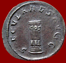 Roman Empire - Philip I (244-249 A.D.) silver antoninianus (3,50 g. 22 mm), minted in Rome in 249 A.D. SAECVLARES AVGG – Cippus, inscribed in two lines, COS – III.