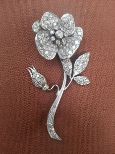 """Beautiful antique brooch """"rose"""" with diamonds - 1940s"""