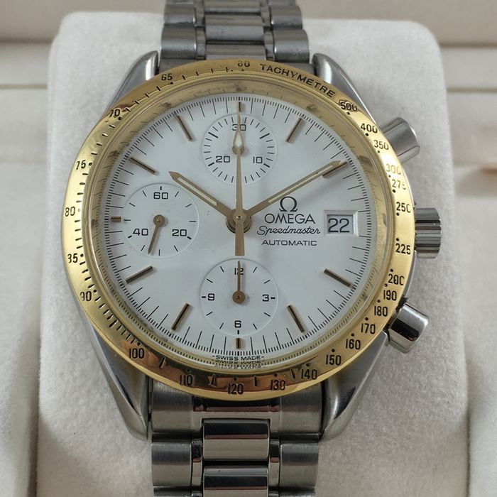 "Omega Speedmaster ""Gold Bezel"" Automatic Chronograph Men's ..."