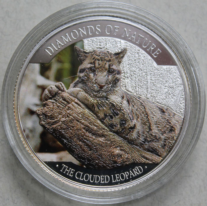 "Fiji Islands - 10 Dollars 2013 - fine silver coin - ""The Clouded Leopard"" - clouded leopard"