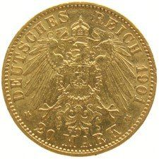 Germany – Prussia 20 marks 1901A gold.
