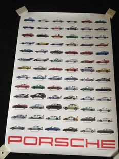 Rare limited edition Porsche Models overview poster  - 98 x 68 cm