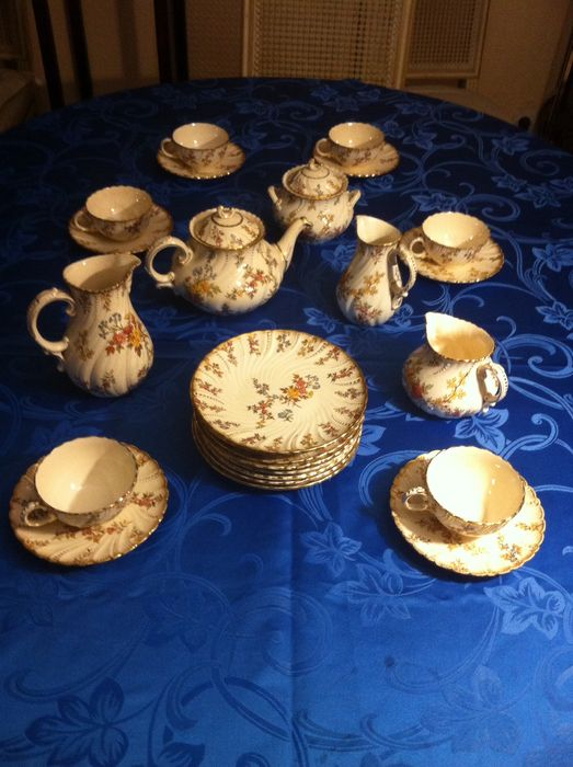 Sarreguemines table set, Louis XV - Old coffee/tea set