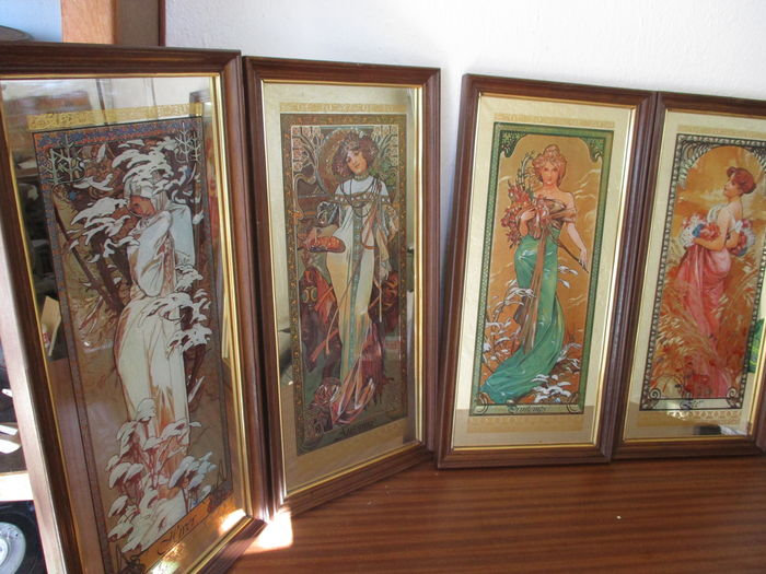 Alphonse mucha rare vintage mirroir painted framed for Miroir 220 review
