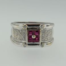 White gold ring with ruby and diamond
