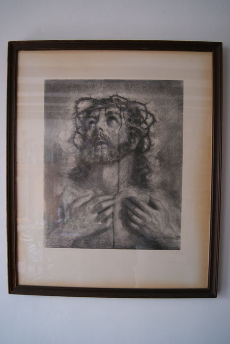André Tahon (1907-1985 ) -  Charcoal drawing of Jezus Christ