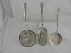 Three silver serving scoops, Vartan and Sevan, Isfahan, Persia / Iran, 2nd half 20th century