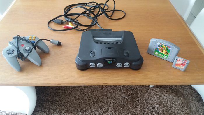 Nintendo 64 console with cables controller memory pak and super mario 64 catawiki - Super nintendo 64 console ...