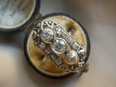 Art Deco 1.00 ct old cut/Bolshevik/Diamonds ring