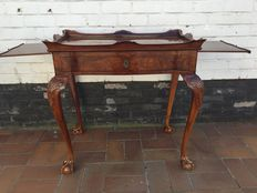 Burl wood tea table with extendable panels, second half of 20th century