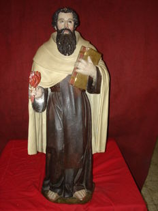 Impressive sculpture of St. Elias in carved and polychrome  wood - possibly from Castile, Span - 2nd half of the 19th century.