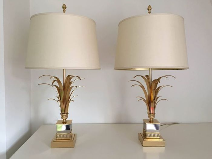 Matching Pair Of Maison Charles Attr Pineapple Leaf Lamps