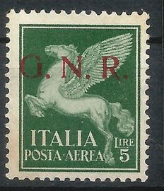 Italy 1943 - G.N.R. issued in Brescia, Airmail 5 Lire - Sassone 123/I with certificate