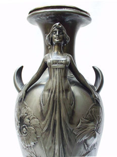 A pair of Art Nouveau vases decorated with women and poppies