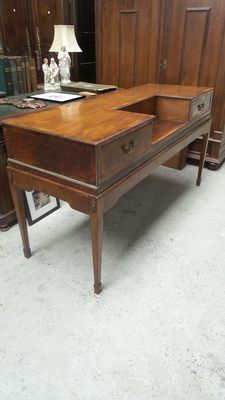 A Neoclassical mahogany, rosewood and amboina wood piano forte turned into a desk, can be disassembled - circa 1800 and later