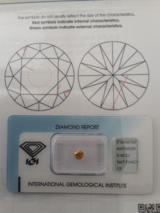 Brilliant cut diamond, 0.42 ct, Fancy Deep Yellowish Orange I2