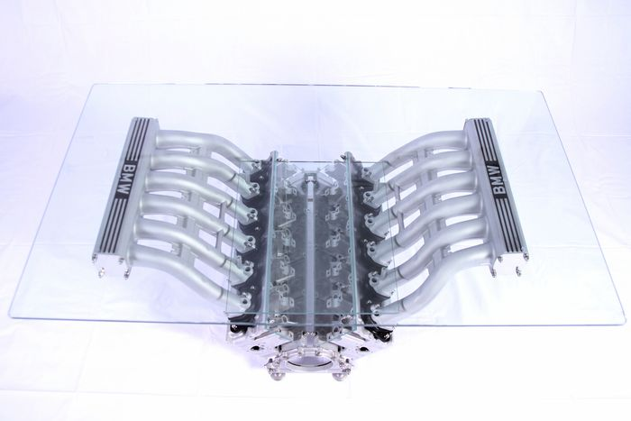 Glass Table Top Gear Style - BMW V12 Engine - Table of Center of BMW V12