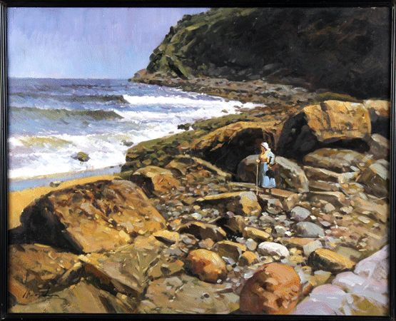 Spanish School (second half of the 20th century) - Gathered of shellfish in the rocks